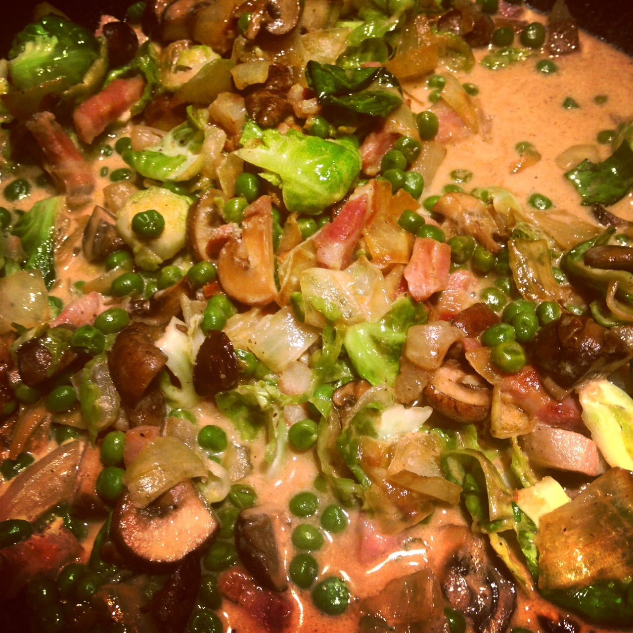 Brussels & Peas & Pancetta Sauce